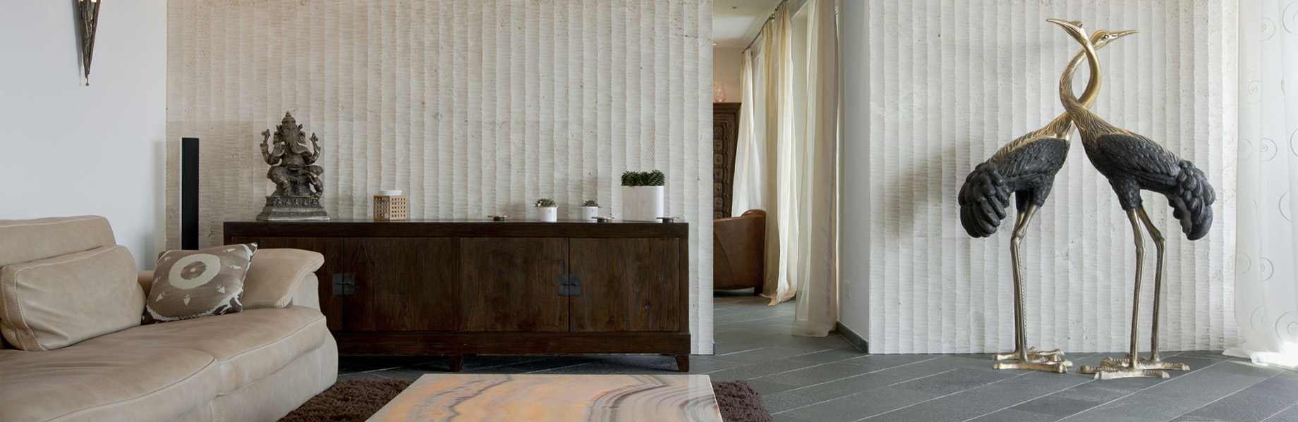 Textural stone for wellness design